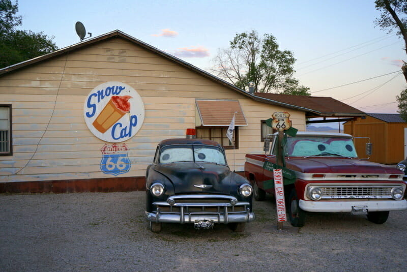Snow Cap, Seligman Route 66 - a top stop on Route 66 Los Angeles to Grand Canyon That You MUST Visit