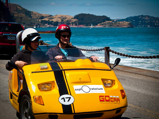 Zipping around the city in a GoCar is one of the top Things to do at Fisherman's Wharf in San Francisco