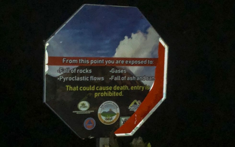 the sign that scared my son on the hike to Pacaya volcano