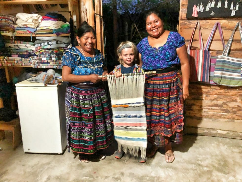 My son so happy with his own Guatemalan Weaving