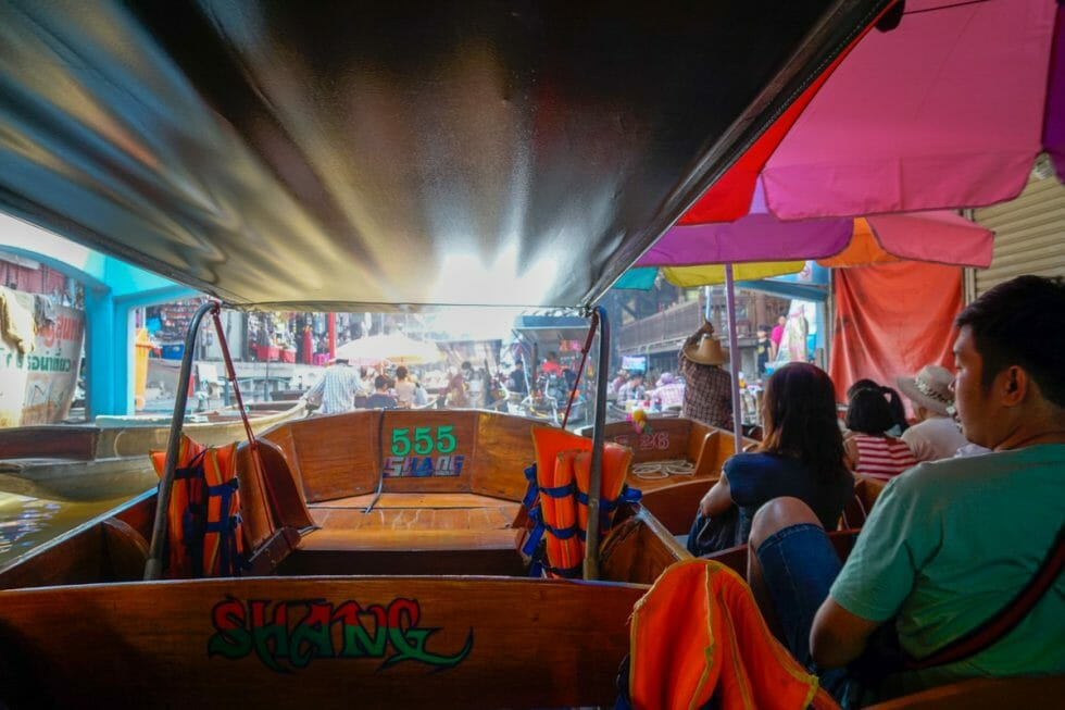 A visit to floating markets is a must in Bangkok with Kids