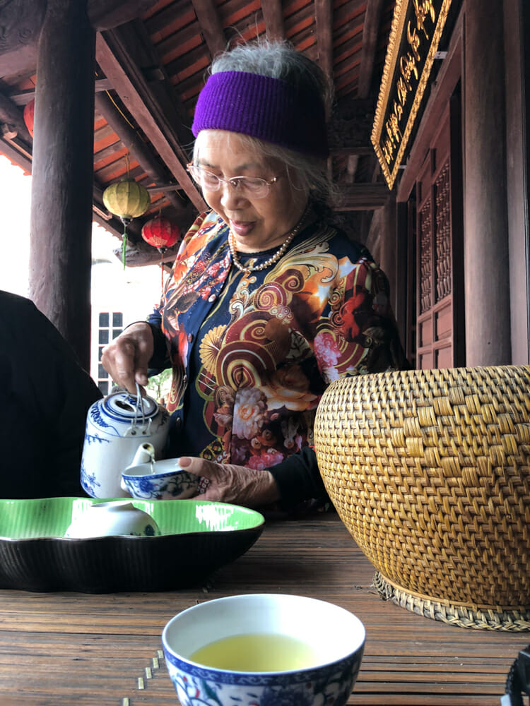 Tea with an elder on a homestay in Vietnam