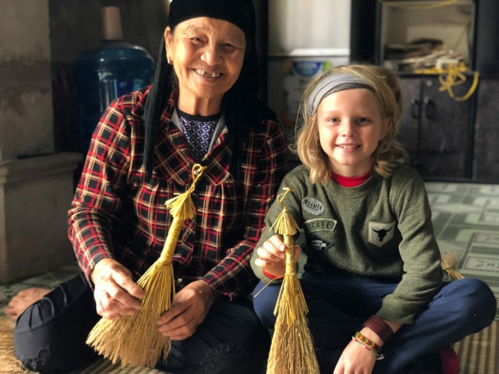 Broom making on a homestay in Vietnam experience