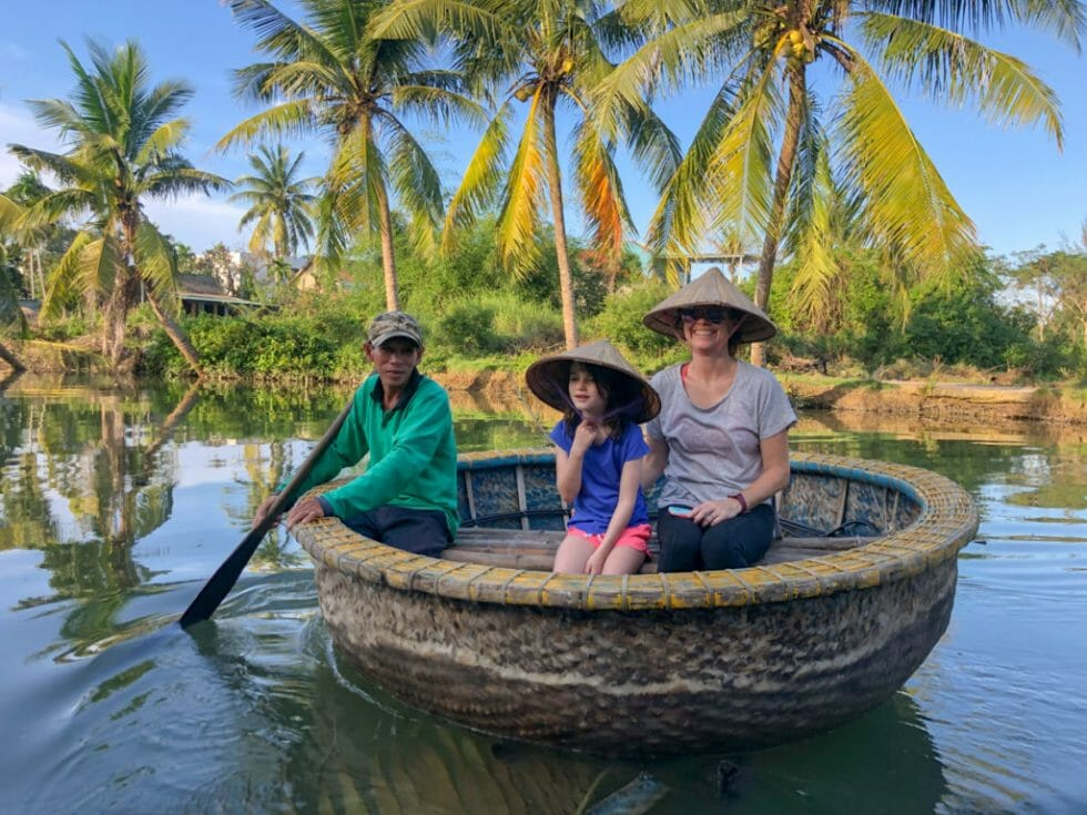 Riding in a basket boat is so fun for kids in Vietnam