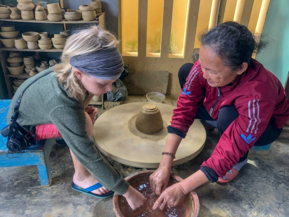 Getting messy at the Pottery Village Hoi An