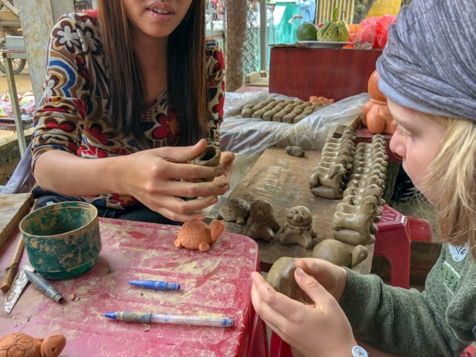 Making a pig at the Hoi An Pottery Village