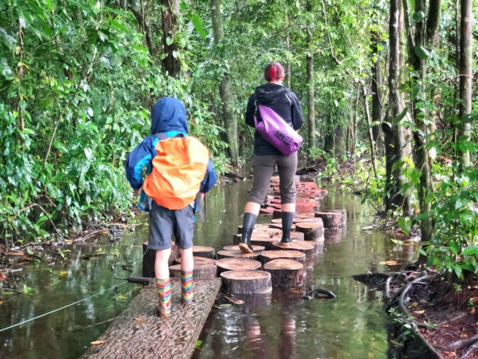 You might find yourself hiking in borrowed boots on this Costa Rica family vacation
