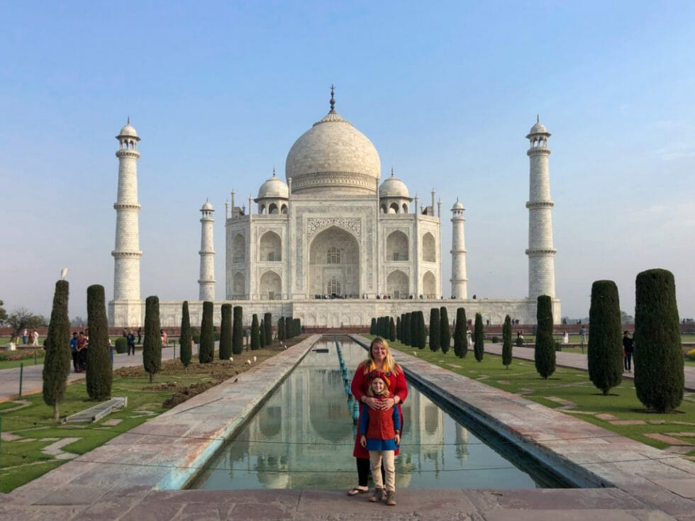 Wearing bright colors when visiting the Taj Mahal in India